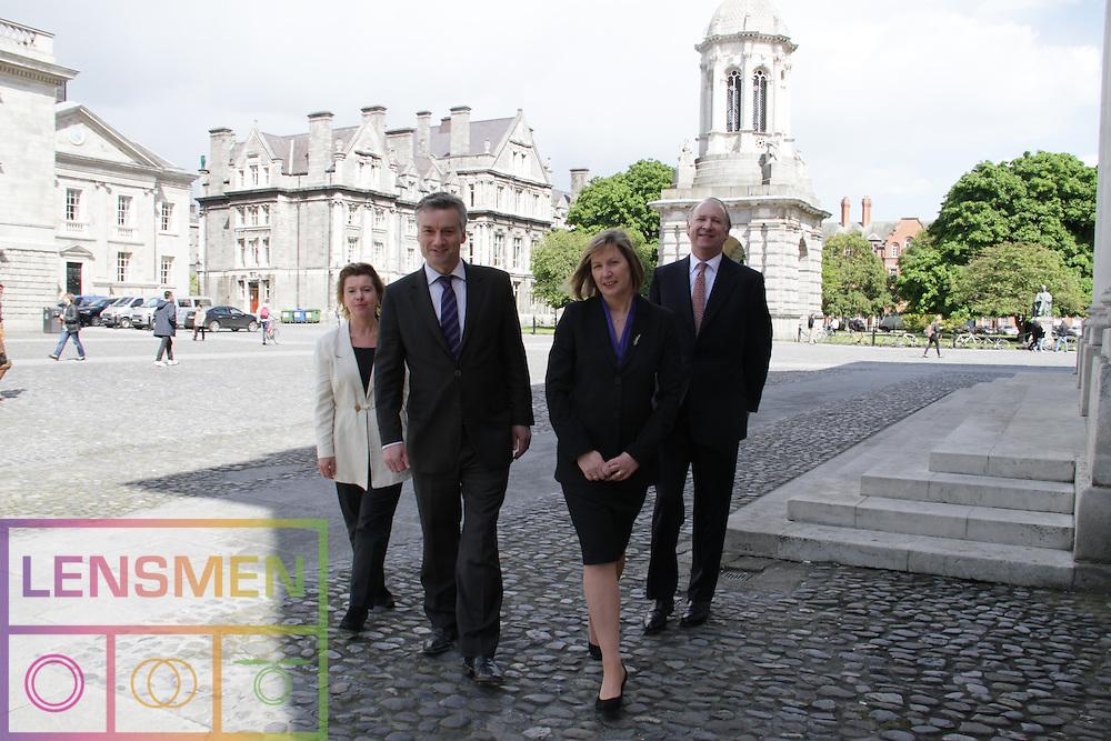 Blanaid Clarke, Chair of Corporate Law.  The Chair is sponsored by McCann FitzGerald.  ..Chair (Blanaid Clarke), the Provost, Patrick Prendergast, Hilary Biehler (Head of School) and John Cronin (Partner, McCann FitzGerald).