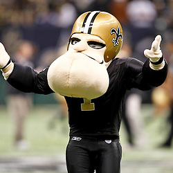 November 28, 2011; New Orleans, LA, USA; New Orleans Saints mascot Big Chin prior to kickoff of a game against the New York Giants at the Mercedes-Benz Superdome. Mandatory Credit: Derick E. Hingle-US PRESSWIRE