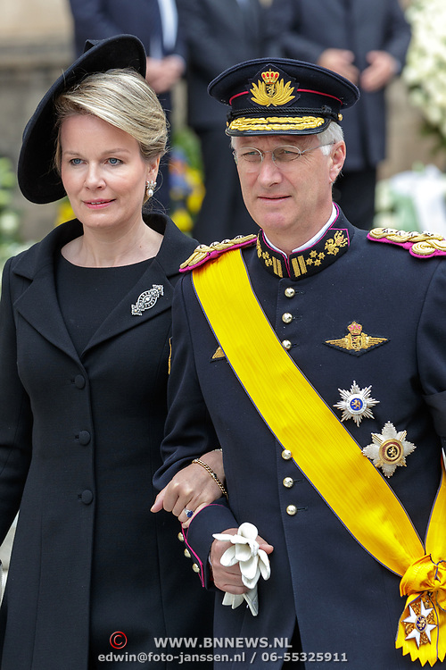 LUX/Luxemburg/20190504 -  Funeral<br /> of HRH Grand Duke Jean, Uitvaart Groothertog Jean, Koning Philppe rn partner koningin Mathilde van Belgie
