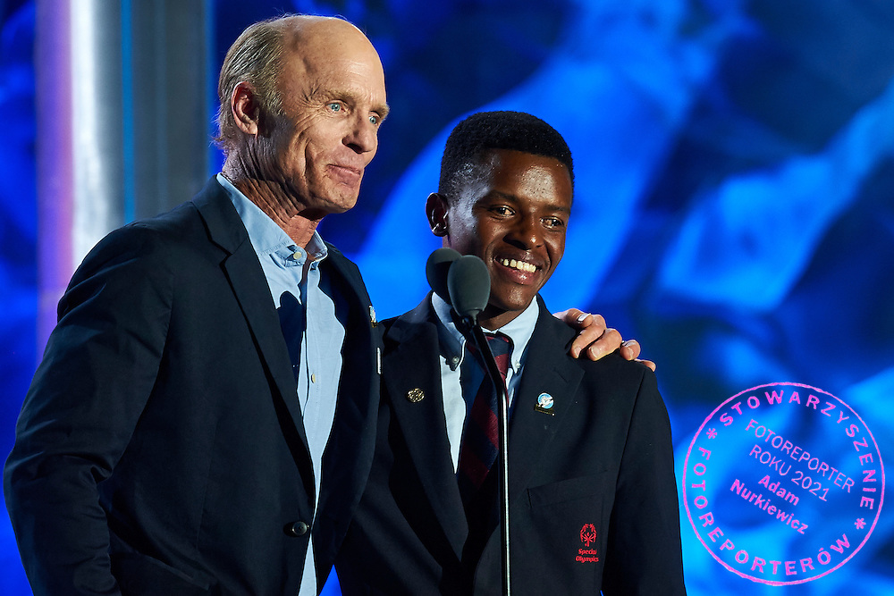 Actor Ed Harris introduces Brightfield Shadi who talks about &ldquo;Determination&rdquo; during opening ceremony of the Special Olympics World Games Los Angeles 2015 at the Los Angeles Coliseum Stadium on July 25, 2015 in Los Angeles, USA.<br /> USA, Los Angeles, July 25, 2015<br /> <br /> Picture also available in RAW (NEF) or TIFF format on special request.<br /> <br /> For editorial use only. Any commercial or promotional use requires permission.<br /> <br /> Adam Nurkiewicz declares that he has no rights to the image of people at the photographs of his authorship.<br /> <br /> Mandatory credit:<br /> Photo by &copy; Adam Nurkiewicz / Mediasport