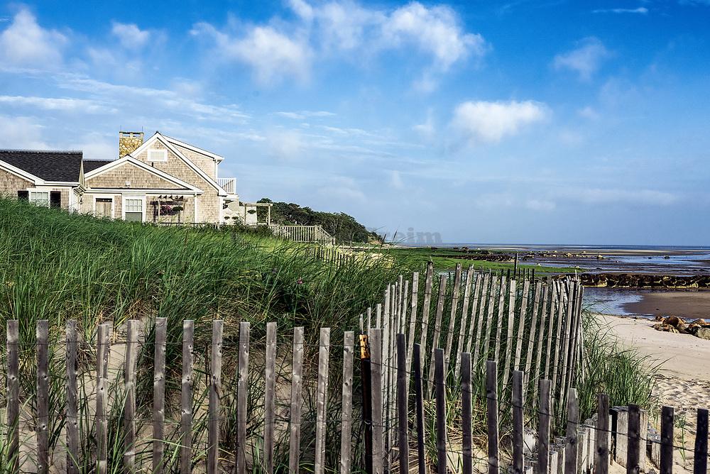 Breakwater beach at low tide, Brewster, Cape Cod, Massachusetts, USA.