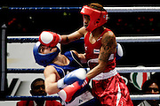 Milan, 01-09-2009 ITALY - Aiba World Boxing Championship Milan 2009.  Fly 51 kg preliminaries..Pictured: Aleksandrov Aleksander (BUL) red vs Essomba Thomas (CAM) blue.Photo by Giovanni Marino/OTNPhotos . Obligatory Credit