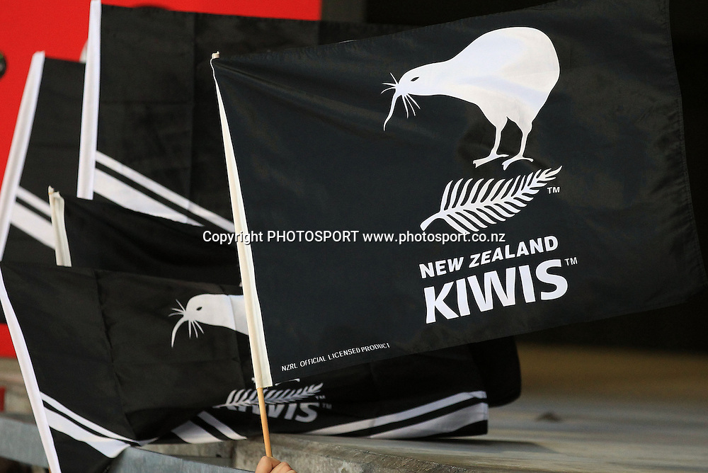 Kiwi fans wave their flags New Zealand Kiwis versus Toa Samoa International Rugby League match at Mt Smart Stadium on Saturday 16 October 2010. Auckland, New Zealand. Photo: Andrew Cornaga/photosport.co.nz