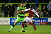 Forest Green Rovers Farrend Rawson(6) and Arsenal's Bukayo Saka(87) during the EFL Trophy group stage match between Forest Green Rovers and U21 Arsenal at the New Lawn, Forest Green, United Kingdom on 7 November 2018.