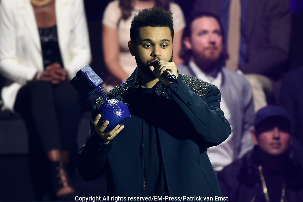 MTV European Music Awards at the AHOY, Rotterdam.<br /> <br /> On the photo:   The Weeknd ft. Daft Punk wint in de categorie Best Video