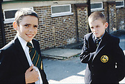 Vince and Neville in Hatter's Lane School uniform, High Wycombe, UK, 1980s.