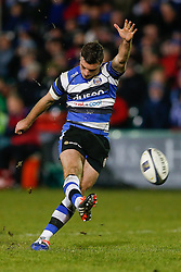 Bath Fly-Half George Ford kicks a conversion - Photo mandatory by-line: Rogan Thomson/JMP - 07966 386802 - 12/12/2014 - SPORT - RUGBY UNION - Bath, England - The Recreation Ground - Bath Rugby v Montpellier Herault Rugby - European Rugby Champions Cup Pool 4.