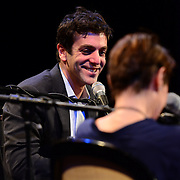 NHPR's Virginia Prescott interviews B. J. Novak during a Writers on a New England Stage show at The Music Hall in Portsmouth, NH
