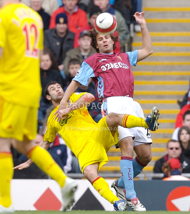 Birmingham, England - Sunday, March 3, 2007: Liverpool's Javier Mascherano and Aston Villa's Patrik Berger during the Premiership match at Villa Park. (Pic by David Rawcliffe/Propaganda)