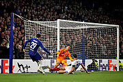 Chelsea FC forward Alvaro Morata (29) manages to poke this one through but it just goes wide during the Europa League match between Chelsea and MOL Vidi at Stamford Bridge, London, England on 4 October 2018.
