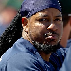 February 26, 2011; Port Charlotte, FL, USA; Tampa Bay Rays left fielder Manny Ramirez (24) during a spring training exhibition game against the Pittsburgh Pirates at Charlotte Sports Park.  Mandatory Credit: Derick E. Hingle