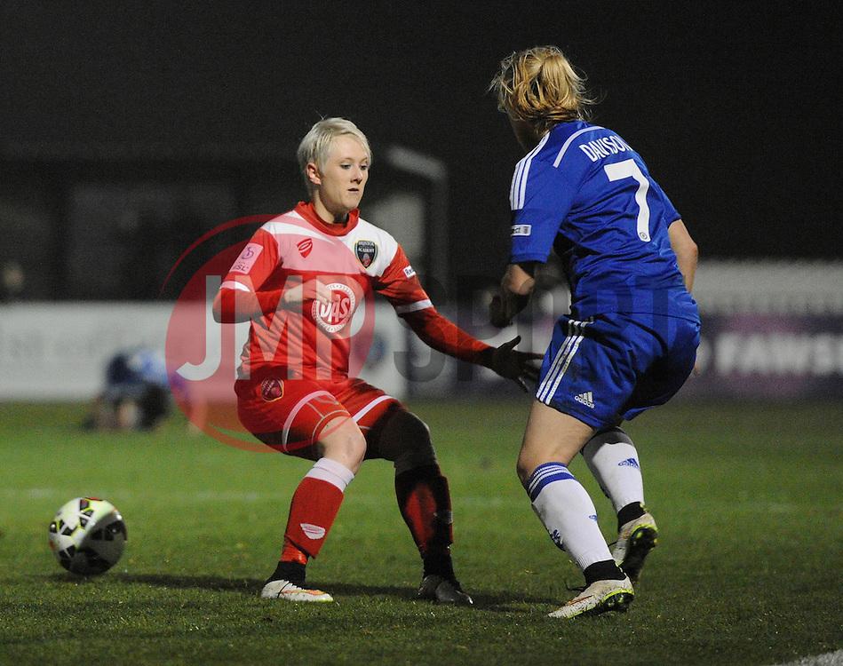 Gemma Davison of Chelsea Ladies passes Bristol Academy Womens' Lauren Townsend - Photo mandatory by-line: Dougie Allward/JMP - Mobile: 07966 386802 - 02/04/2015 - SPORT - Football - Bristol - SGS Wise Campus - BAWFC v Chelsea Ladies - Womens Super League