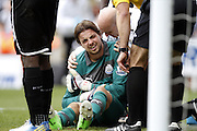 TIM KRUL WITH SHOULDER INJURY.NEWCASTLE V SUNDERLAND.NEWCASTLE UNITED V SUNDERLAND  BARCLAYS PREMIER LEAGUE.ST.JAMES, NEWCASTLE, ENGLAND.14 April 2013.GAQ67453..  .WARNING! This Photograph May Only Be Used For Newspaper And/Or Magazine Editorial Purposes..May Not Be Used For Publications Involving 1 player, 1 Club Or 1 Competition .Without Written Authorisation From Football DataCo Ltd..For Any Queries, Please Contact Football DataCo Ltd on +44 (0) 207 864 9121