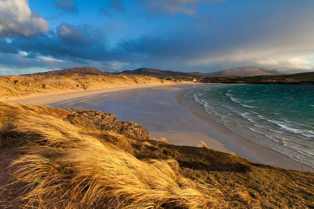 Balnakeil Beach and dunes in late evening light, near Durness, Sutherland, Scotland