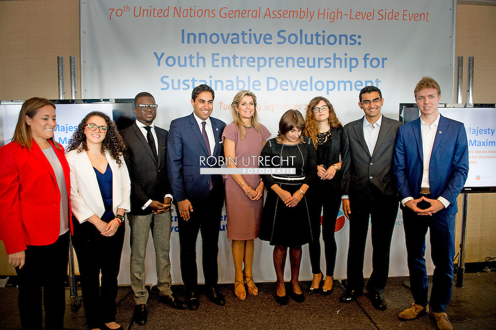 NEW YORK - Queen MAxima attends the meeting Innovative Slutions Youth Entrepreneurship for sustainable development . COPYRIGHT ROBIN UTRECHT