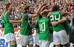28.08.2010, Weserstadion, Bremen, GER, 1. FBL, Werder Bremen vs 1. FC Köln / Koeln, im Bild Jubel bei Werder Bremen nach dem 2:0   EXPA Pictures © 2010, PhotoCredit: EXPA/ nph/  Frisch+++++ ATTENTION - OUT OF GER +++++