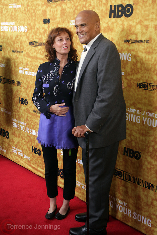 "New York, NY- October 6: Actress Susan Sarandon and Harry Belafonte at the HBO Premiere of "" Sing Your Song"" chronicling the life & iconic career of legendary entertainer & civil rights hero Harry Belafonte held at the Apollo Theater on October 6, 2011 in Harlem, New York City. Photo Credit: Terrence Jennings"