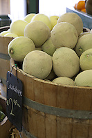 Close-up of Cantaloupe melons on display for sale in market