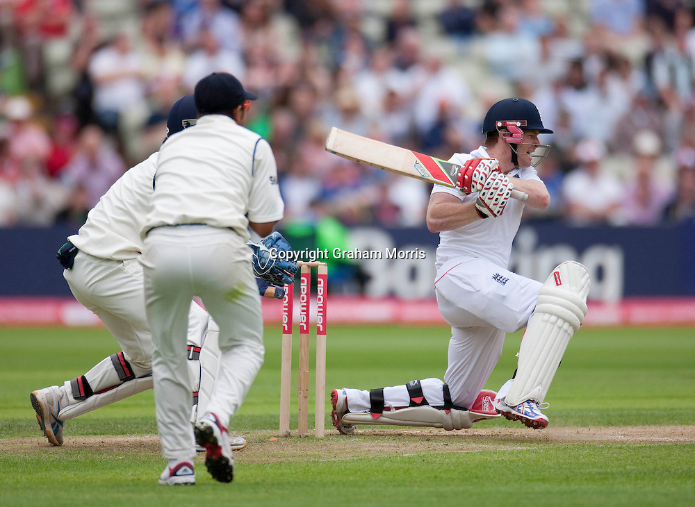 Eoin Morgan bats during the third npower Test Match between England and India at Edgbaston, Birmingham.  Photo: Graham Morris (Tel: +44(0)20 8969 4192 Email: sales@cricketpix.com) 12/08/11