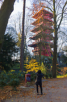 Brussels Belgium 6th December 2013. Woman photographs the Japanese Tower. Like the nearby Chinese Pavilion it was built at the beginning of the 20th century, supervised by King Léopold II.Now part of the Museums of the Far East (Royal Museums of Art and History)