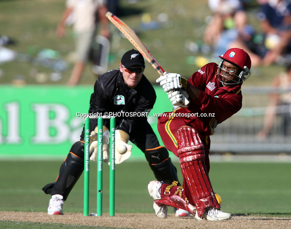 West Indian captain Shivnarine Chanderpaul batting during the fourth ODI cricket match between the Black Caps and West Indies at Mclean Park, Napier, New Zealand, on Wednesday 1 March 2006. Photo: John Cowpland/PHOTOSPORT