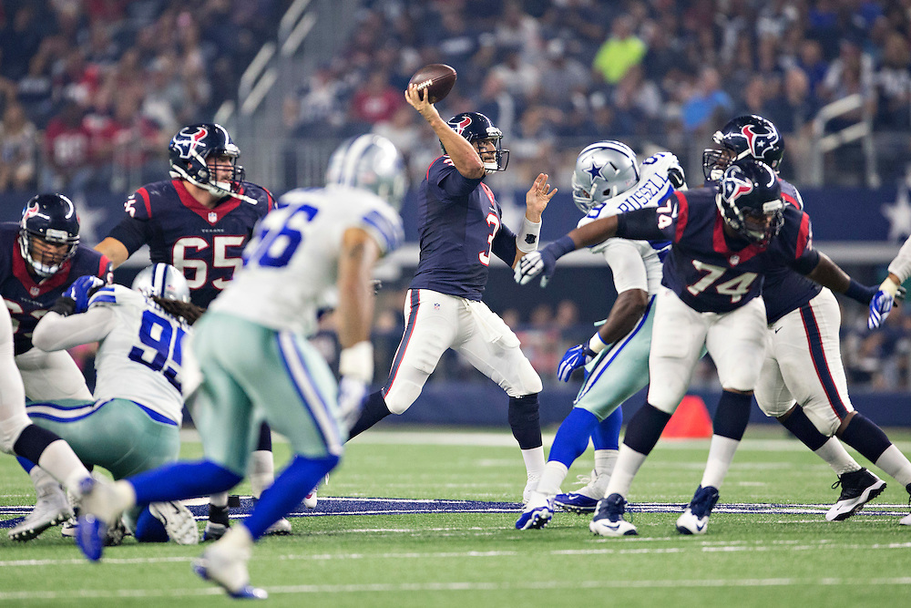 ARLINGTON, TX - SEPTEMBER 3:  Tom Savage #3 of the Houston Texans throws a pass during a preseason game against the Dallas Cowboys at AT&T Stadium on September 3, 2015 in Arlington, Texas.  The Cowboys defeated the Texans 21-14.  (Photo by Wesley Hitt/Getty Images) *** Local Caption *** Tom Savage