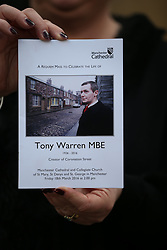 © Licensed to London News Pictures . 18/03/2016 . Manchester , UK . Television stars and members of the public attend the funeral of Coronation Street creator Tony Warren at Manchester Cathedral . Photo credit : Joel Goodman/LNP