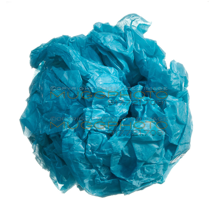 blue wad of paper in a ball shape