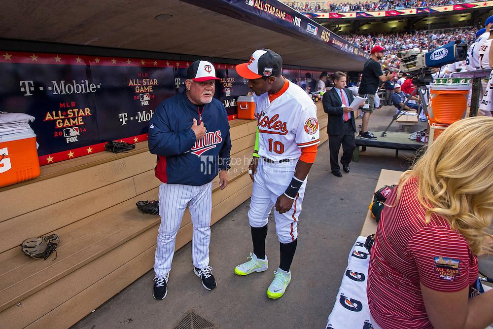 MINNEAPOLIS, MN- JULY 15: American League All-Stars Ron Gardenhire #35 of the Minnesota Twins and Adam Jones #10 of the Baltimore Orioles during the 85th MLB All-Star Game at Target Field on July 15, 2014 in Minneapolis, Minnesota. (Photo by Brace Hemmelgarn) *** Local Caption *** Ron Gardenhire;Adam Jones