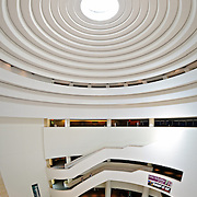 Elevated view of the atrium of the Smithsonian Institution's National Museum of the American Indian.