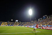 Gu Ja-Cheol of South Korea takes a corner in the Al-Gharafa Stadium, Doha, Qatar