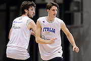 Biella, 15/12/2012<br /> Basket, All Star Game 2012<br /> Allenamento Nazionale Italiana Maschile <br /> Nella foto: achille polonara, daniele magro<br /> Foto Ciamillo