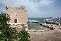 Torre Santa Sabina (prov. Brindisi)<br /> Torre Santa Sabina è una località balneare frazione del comune di Carovigno, in provincia di Brindisi.<br /> La Torre di Santa Sabina è una delle 3 torri a forma ottagonale a cappello da prete della Puglia, oltre a quelle di Torre San Giovanni e di San Pietro in Bevagna. In particolare la torre di Santa Sabina ha forma stellare a quattro spigoli orientati verso i punti cardinali, con coronamento merlato. Comunica visivamente con Torre Pozzelle a nord e con Torre Guaceto a sud. Potrebbe essere stata edificata nei primi anni del XV secolo, come torre di controllo del porticciolo, dai principi di Taranto; venne poi demanializzata dalla Regia Corte nel XVI secolo secondo le disposizioni del viceré Pedro Afan de Ribera entrando a far parte del circuito di torri di avvistamento antisaraceno.<br /> Ritornò in mani privati quando fu acquistata dalla famiglia Dentice di Frasso che recentemente l'ha venduta ad altri privati.<br /> <br /> (fonte descrizione: wikipedia)