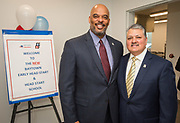 Harris County Department of Education Superintendent James Colbert poses for a photograph with Baytown mayor Brandon Capetillo before a ribbon cutting ceremony for the new Baytown Head Start and Early Head Start facility, May 23, 2019.