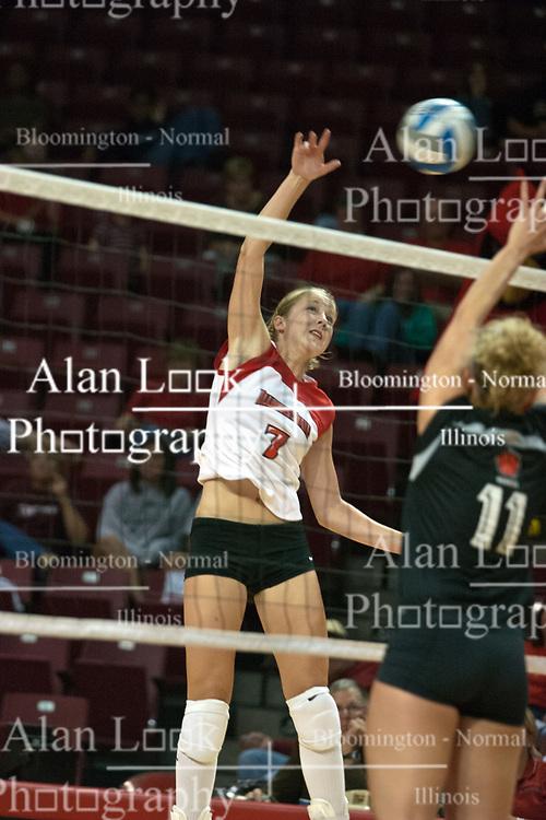 19 AUG 2006  Mary Catherine Richmond strikes the ball at Kate McCullagh.Northern Illinois Huskies got slammed by Illinois State Redbirds, losing the match 3 games to 1. Game action took place at Redbird Arena on the campus of Illinois State University in Normal Illinois.