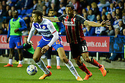 Michael Hector and Callum Wilson during the Sky Bet Championship match between Reading and Bournemouth at the Madejski Stadium, Reading, England on 14 April 2015. Photo by Adam Rivers.