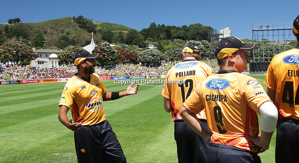 Jeetan Patel prior to the start of play during their Twenty20 Cricket match - HRV Cup, Wellington Firebirds v Central Stags, 27 December 2011, Hawkins Basin Reserve, Wellington. . PHOTO: Grant Down / photosport.co.nz