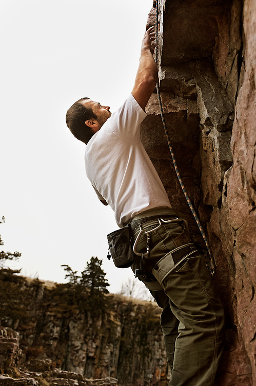 Mark Kiner, age  36, sport climbing at Palisades State Park in Eastern South Dakota on March 26, 2010..
