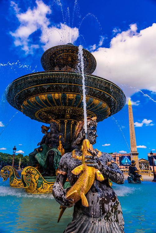 Maritime Fountain (Fontaines de la Concorde), Place de la Concorde, Paris, France.