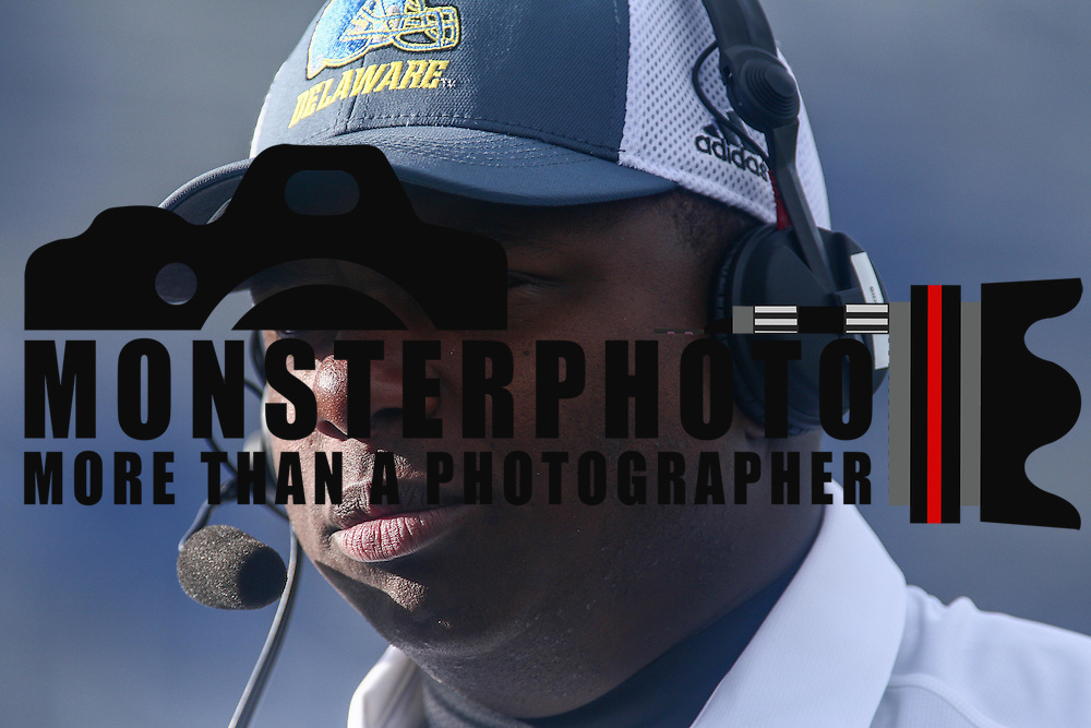 University of Delaware interim football coach DENNIS DOTTIN-CARTER watches the game from the sideline in the second quarter of a week eight game between the Delaware Blue Hens and the Stony Brook Seawolves, Saturday, Oct. 22, 2016 at Tubby Raymond Field at Delaware Stadium in Newark, DE.