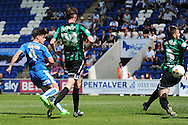 Joe Edwards of Colchester United scores his sides first goal to make the scoreline 1-1 during the Sky Bet League 1 match between Colchester United and Rochdale at the Weston Homes Community Stadium, Colchester<br /> Picture by Richard Blaxall/Focus Images Ltd +44 7853 364624<br /> 08/05/2016