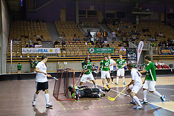 Goalie Erik Ekar of FBK Olimpija lies down and make a save during match for fifth place between Downtown Tigers (FIN) and FBK Olimpija (SLO) in Floorball Slo Open 2012, on August 26, 2012 in Ljubljana, Slovenia.  (Photo by Matic Klansek Velej / Sportida.com)