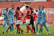 Swindon Town defender Raphael Rossi Branco (29) is shown a red card, sent off 0-0 during the EFL Sky Bet League 1 match between Swindon Town and Bolton Wanderers at the County Ground, Swindon, England on 8 October 2016. Photo by Alan Franklin.