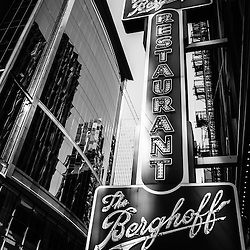 Chicago Berghoff restaurant sign in black and white. The famous Berghoff opened in 1898 and is one of Chicago's oldest and popular  restaurants.