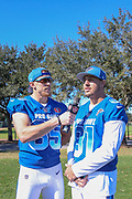 Jan 25, 2019; Kissimmee, FL, USA; San Francisco 49ers tight end George Kittle (85) interviews Atlanta Falcons tight end Austin Hooper (81) after the AFC team photo for the 2019 Pro Bowl at ESPN Wide World of Sports Complex. (Kim Hukari/Image of Sport)