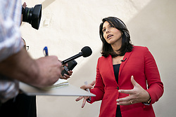 May 12, 2019 - Malibu, CA, United States - Tulsi Gabbard, a Democrat from Hawaii and 2020 presidential candidate seen speaking during the campaign in Malibu. (Credit Image: © Ronen Tivony/SOPA Images via ZUMA Wire)