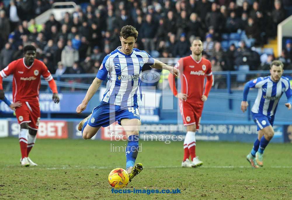 Will Keane of Sheffield Wednesday scores from the penalty spot to make it 1-1 during the Sky Bet Championship match at Hillsborough, Sheffield<br /> Picture by Richard Land/Focus Images Ltd +44 7713 507003<br /> 07/02/2015
