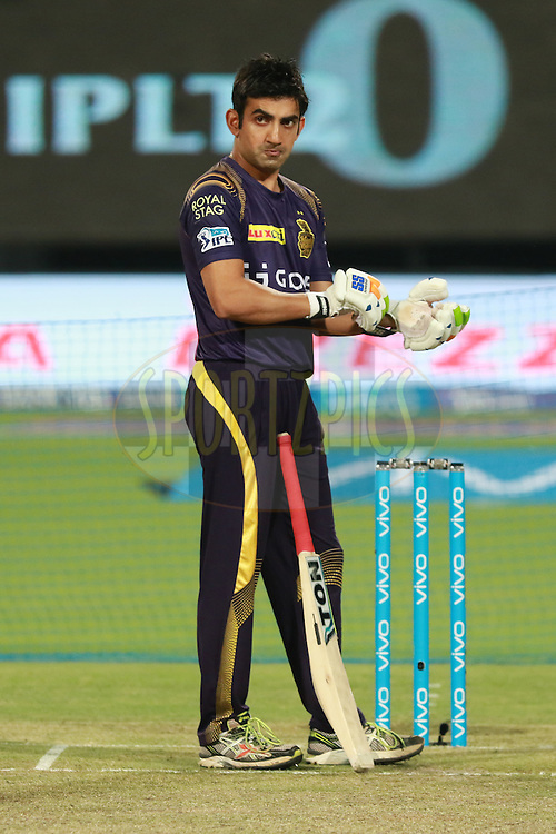 KKR captain Gambhir taking stance at playing pitch during match 38 of the Vivo Indian Premier League ( IPL ) 2016 between the Kolkata Knight Riders and the Gujarat lions held at the Eden Gardens Stadium in Kolkata on the 8th May 2016<br /> <br /> Photo by Saikat Das/ IPL/ SPORTZPICS