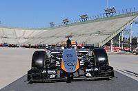 Sahara Force India F1 Team new livery.<br /> Autodromo Hermanos Rodriguez Circuit Visit, Mexico City, Mexico. Thursday 22nd January 2015.
