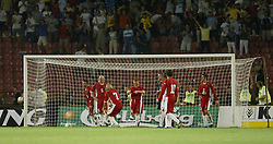 BELGRADE, SERBIA & MONTENEGRO - Wednesday, August 20, 2003: Wales' players look dejected as Serbia & Montenegro score the only goal of the game during the UEFA European Championship qualifying match at the Red Star Stadium. (Pic by David Rawcliffe/Propaganda)